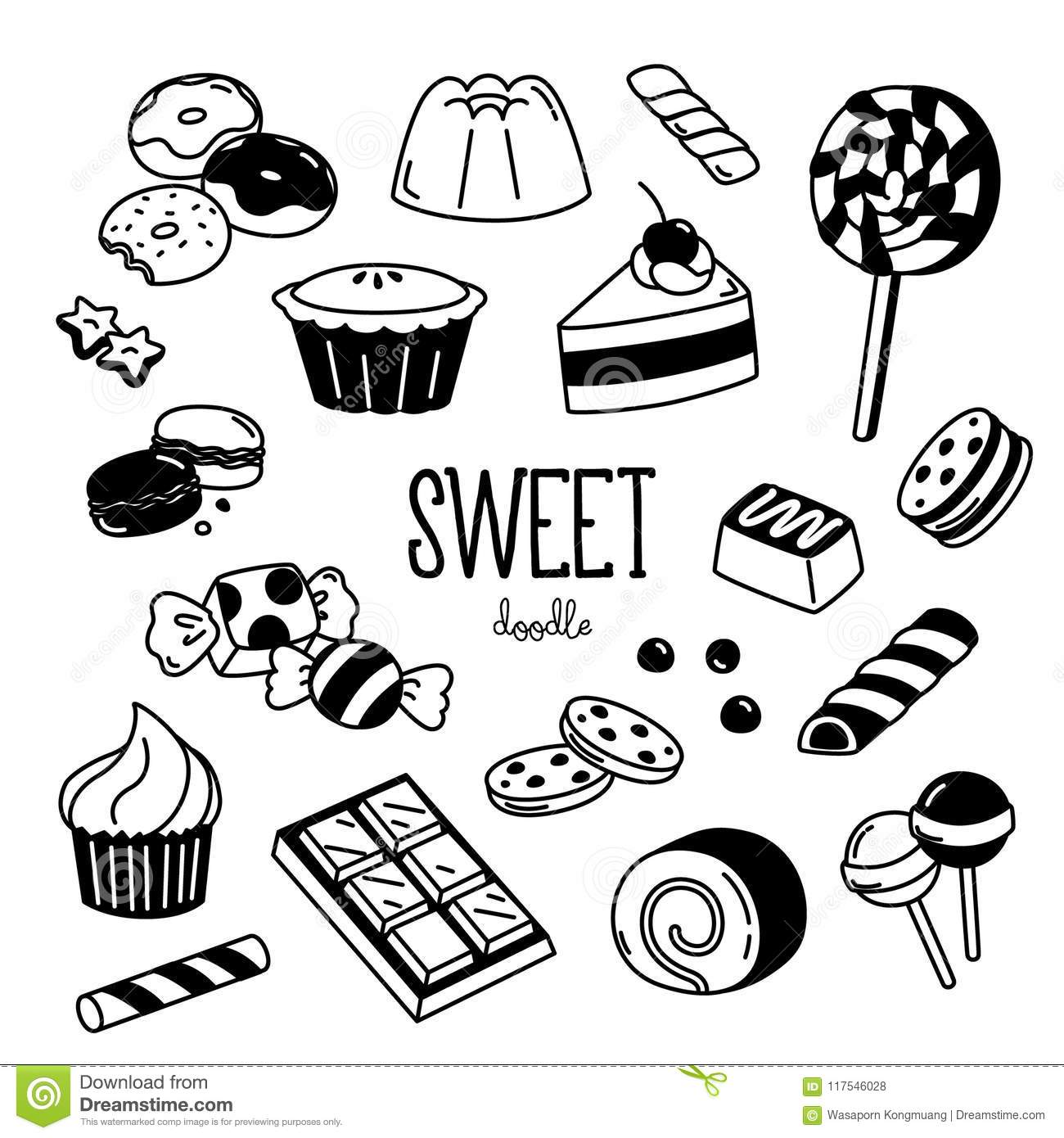 Sweet Dessert Doodles Hand Drawing Of Dessert Stock