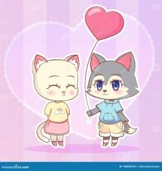 anime dog kawaii cat boy wolf puppy cute cartoon kitten pink shape balloon sweet heart funny preview