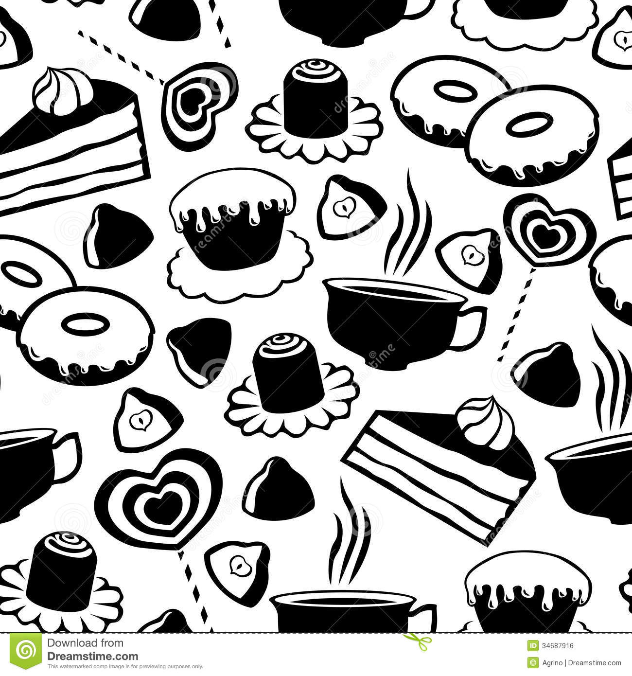 Abstract Illustration Of Coffee-cup With Donut. Stock