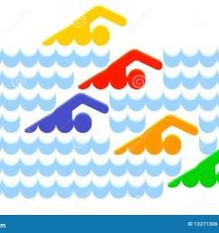 swimmer water wave swim contest vector illustration [ 1300 x 959 Pixel ]