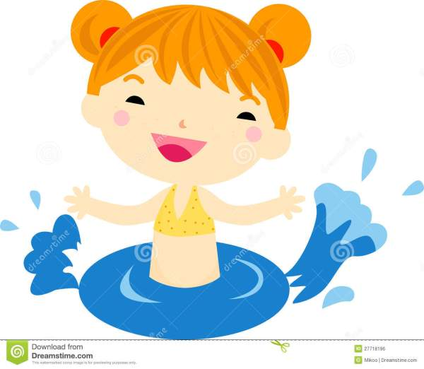 Swimming Girl Stock Vector. Illustration Of Young Clipart