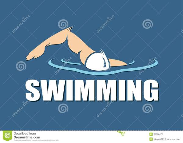 swimming label stock vector. illustration