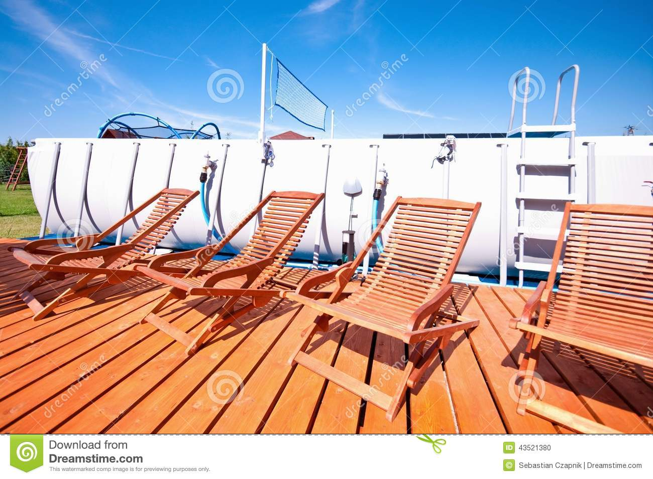 Pool Deck Chairs Swimming Pool Deck Chairs Stock Photo Image 43521380