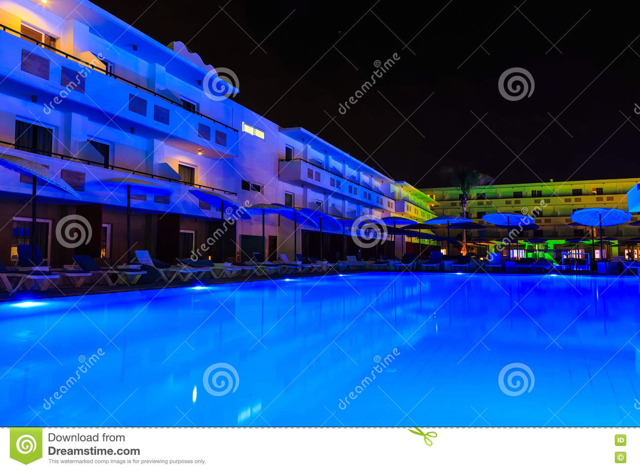 swimming pool with lighting in the spa modern european hotel at night stock image image of silence resort 73593311