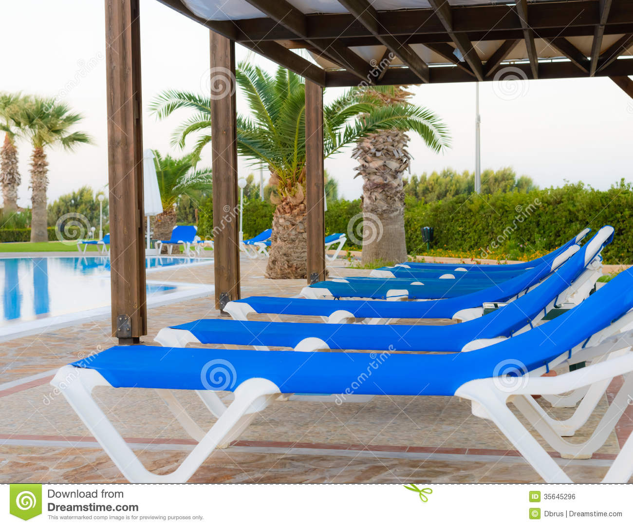 Pool Deck Chairs A Swimming Pool With Sun Loungers Stock Photo Image