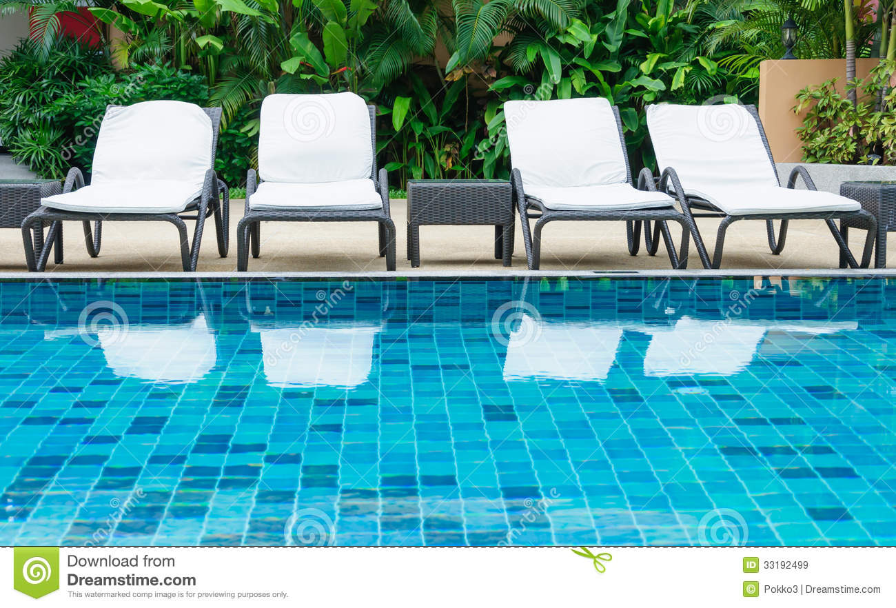 Chairs For Pool Swimming Pool With White Beach Chairs Royalty Free Stock