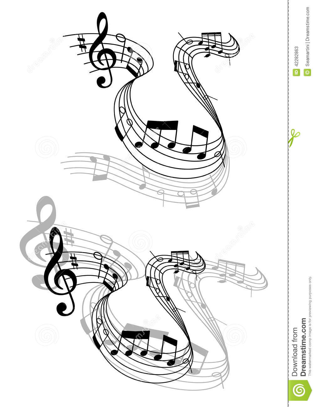 Swirling Music Score With Musical Notes Stock Vector