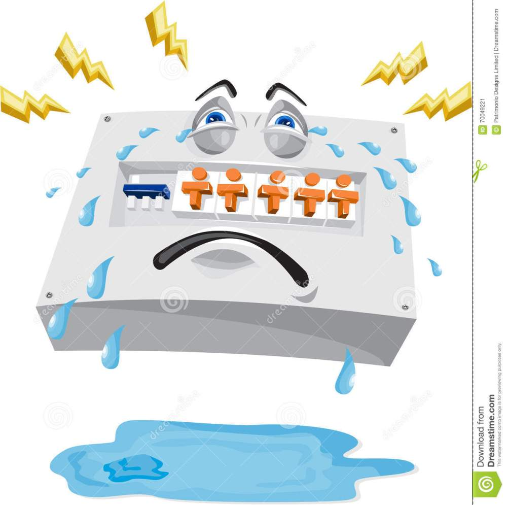 medium resolution of  switchboard crying with tears falling and lightning bolts with pool of water on ground viewed from front set on white background done in cartoon style