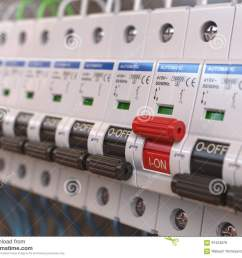 switches in fusebox many black circuit brakers in a row in position blown fuse fuse box switch is red [ 1300 x 1065 Pixel ]