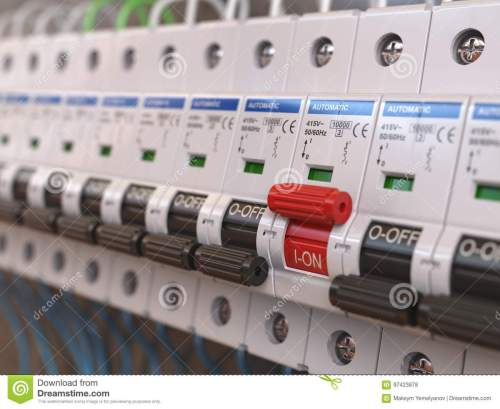 small resolution of switches in fusebox many black circuit brakers in a row in position blown fuse fuse box switch is red