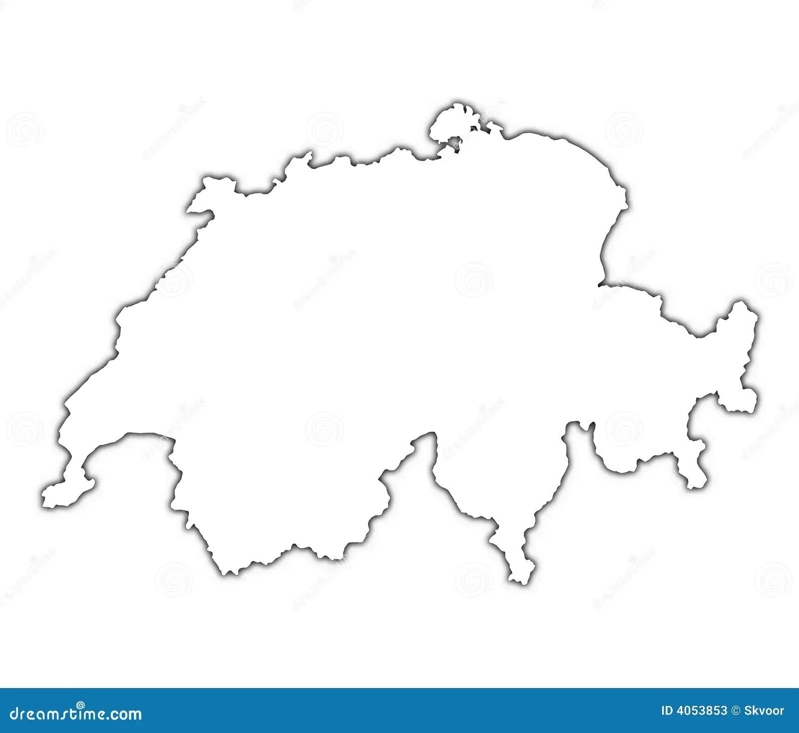 Switzerland Map With Shadow Stock Illustration