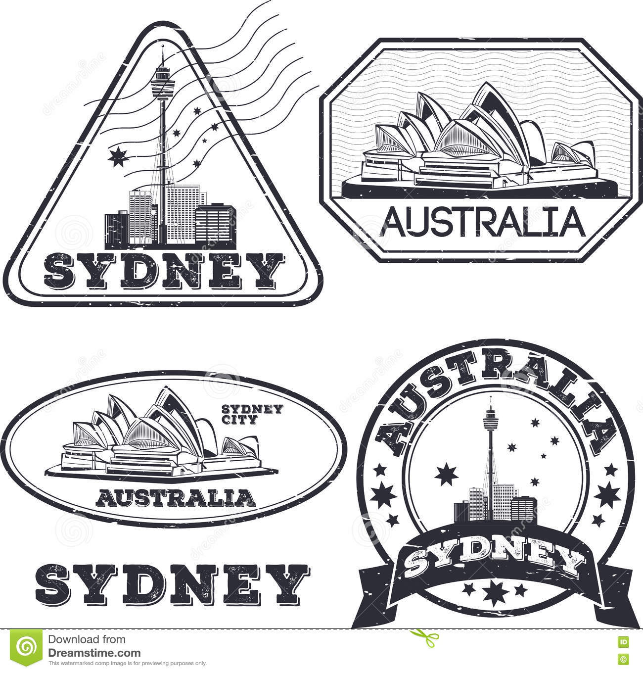City Stamps Collection Cartoon Vector