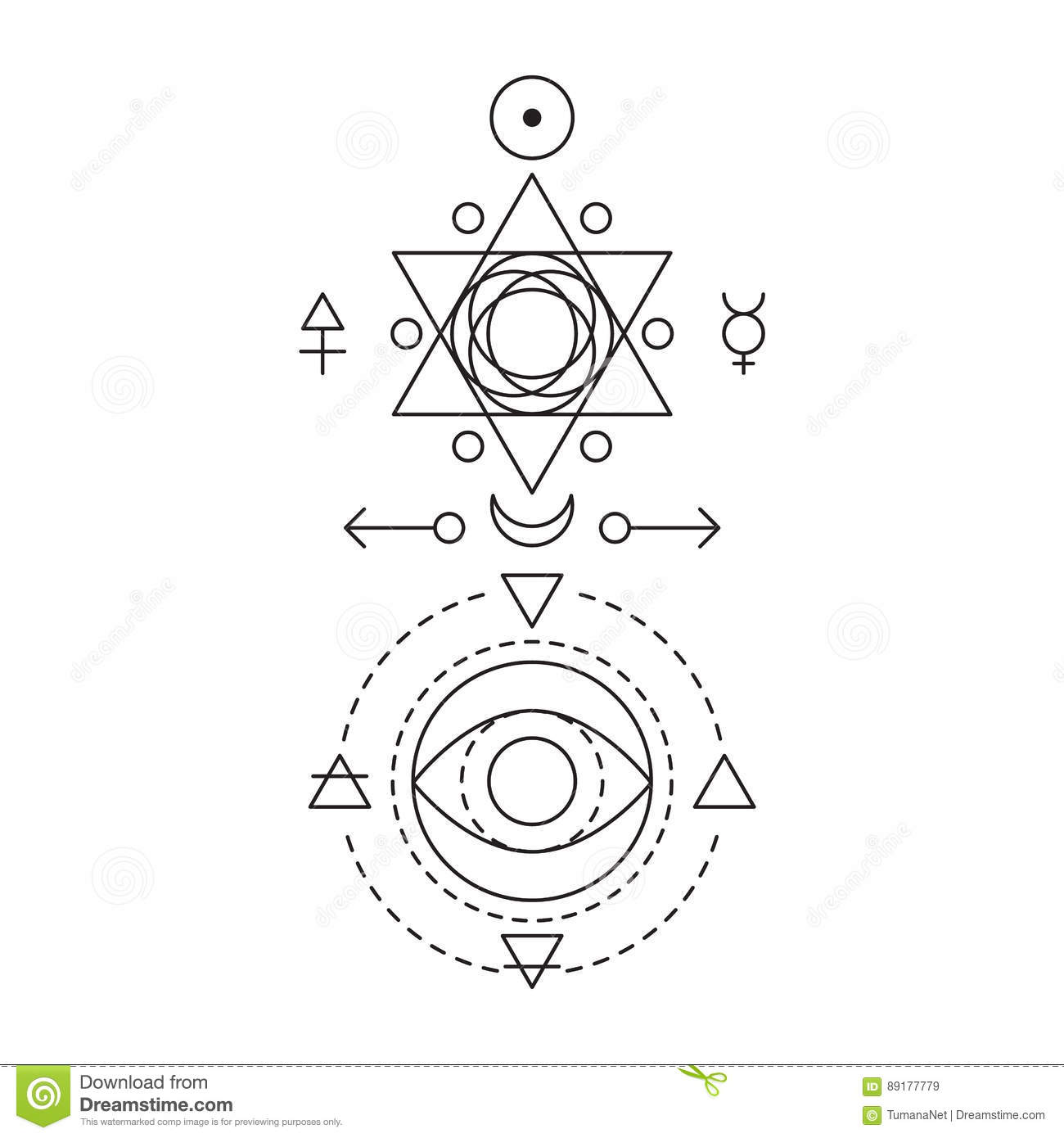 Symbol Of Alchemy And Sacred Geometry Three Primes