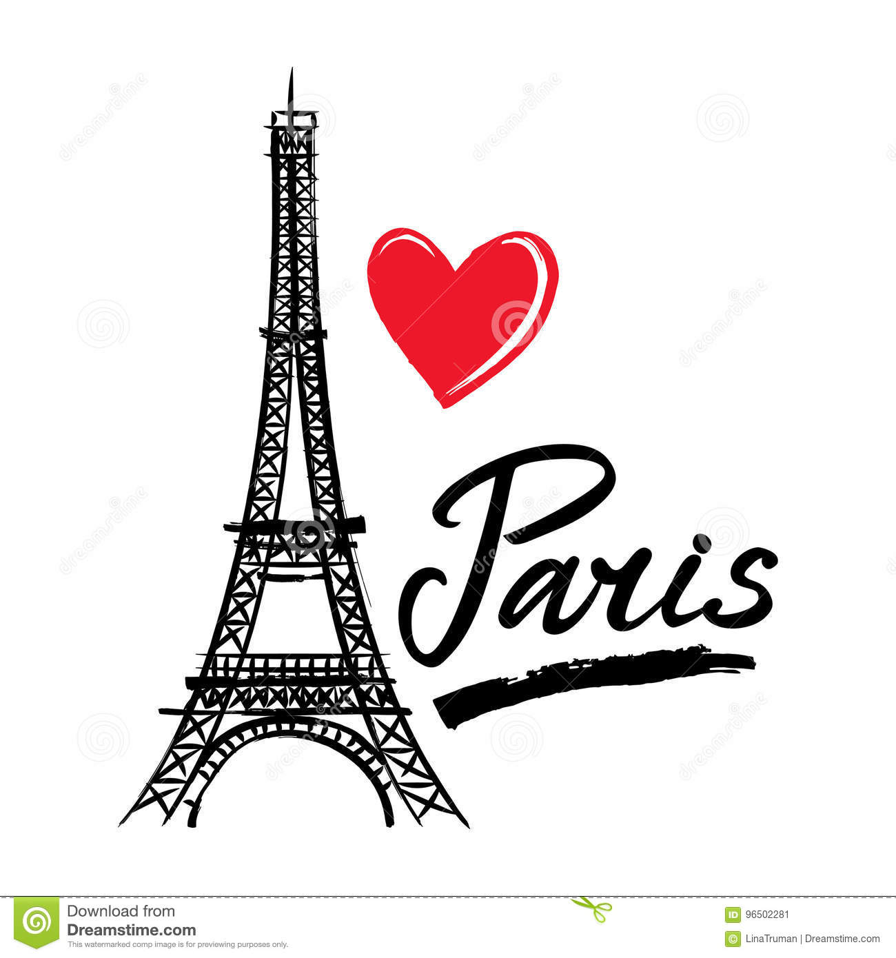 Symbol France Eiffel Tower Heart And Word Paris French