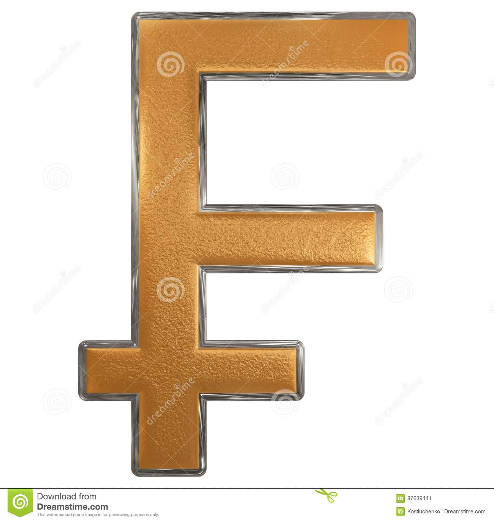 Symbol Of French Franc. Isolated On White Background. 3D Illust Stock Illustration - Illustration of metal. golden: 87639441