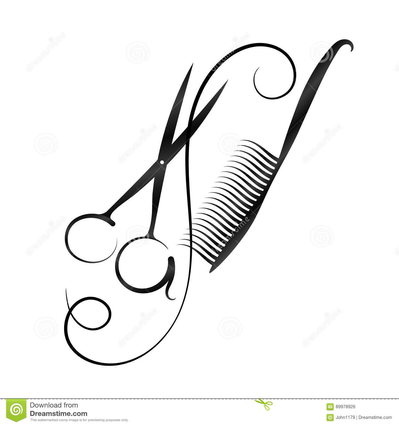 A Symbol For A Hairdresser And Beauty Salon Scissors And