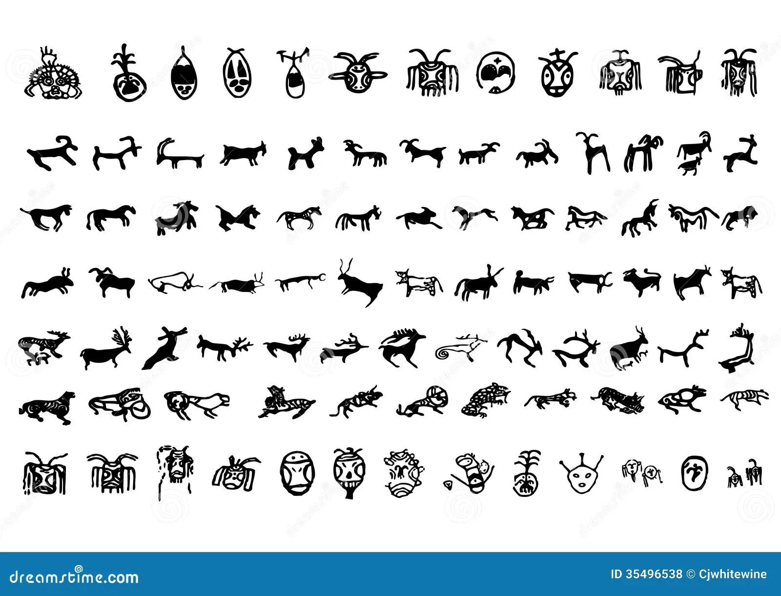 Symbole De Petroglyphe Illustration De Vecteur