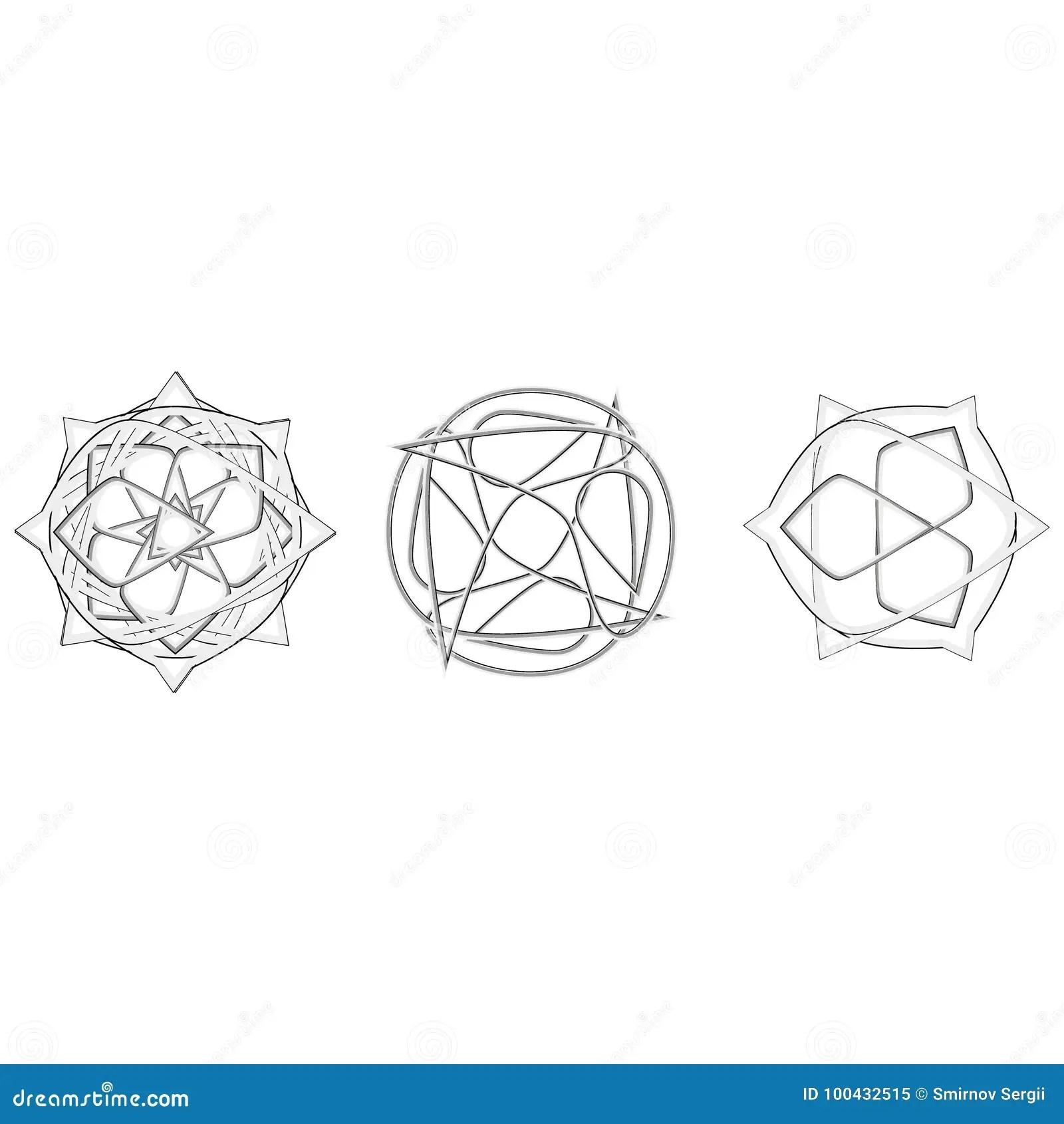 Symboler Och Symmetrisk Geometrisk Modell Eps10 Stock Illustrationer