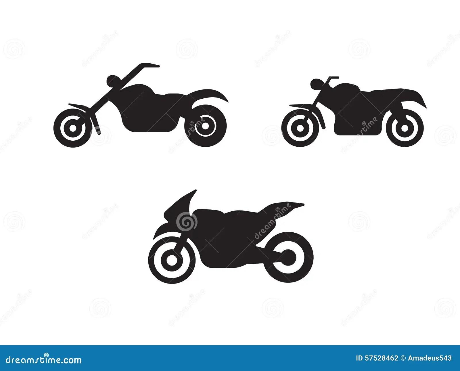 Symboles De Moto De Motocyclette En Silhouette Noire