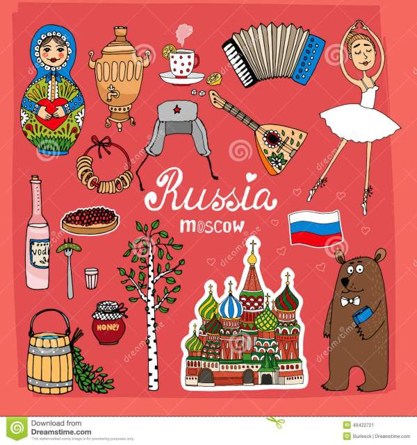 Symbols And Icons Of Russia Stock Vector Image 40422721