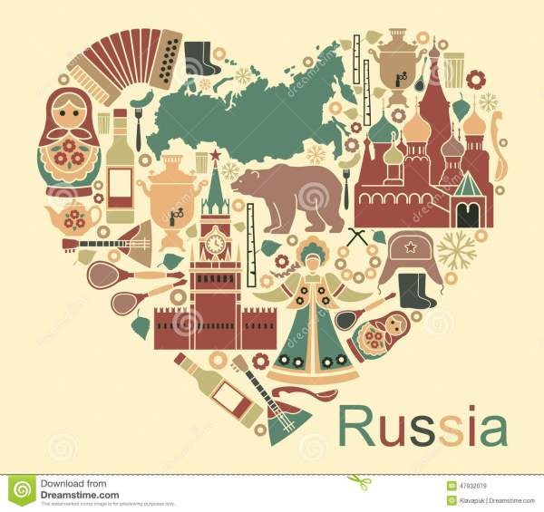 Symbols Of Russia In The Form Of Heart Stock Vector