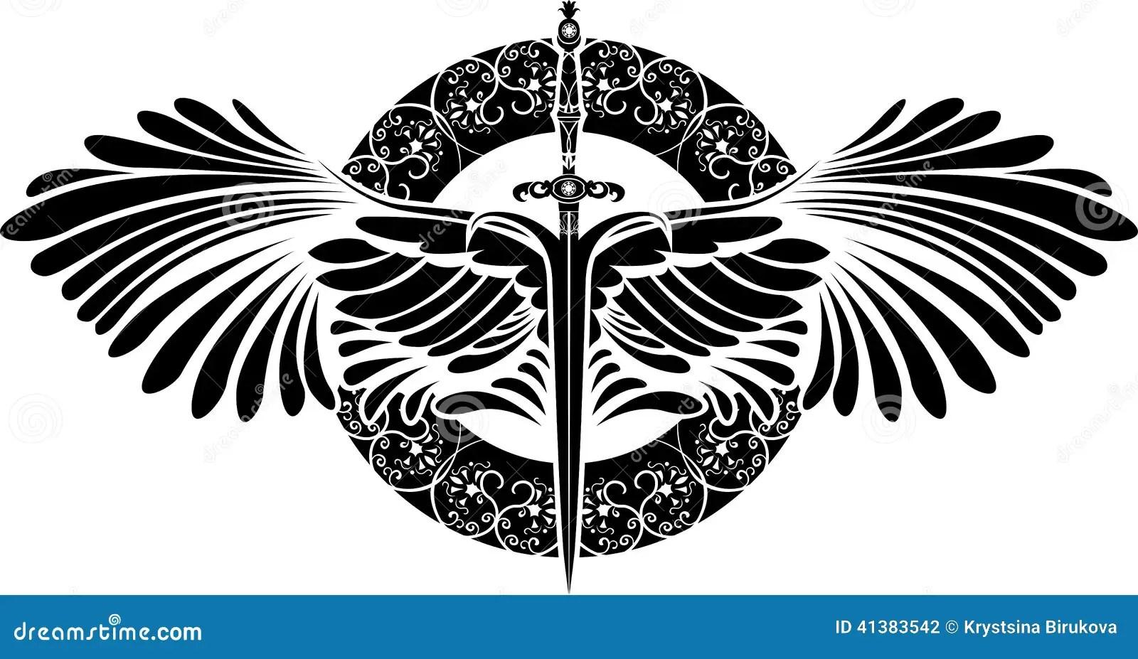 Symbool Van Bescherming Zwaard Met Vleugels Vector