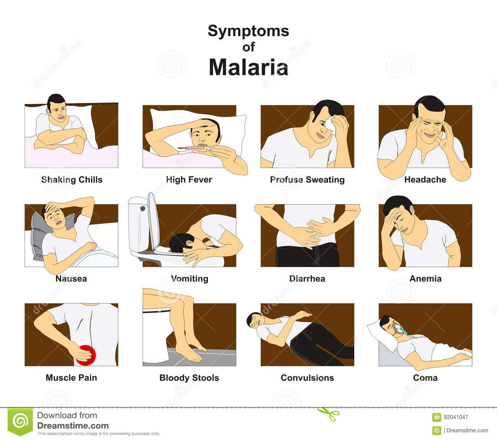 symptoms of malaria stock