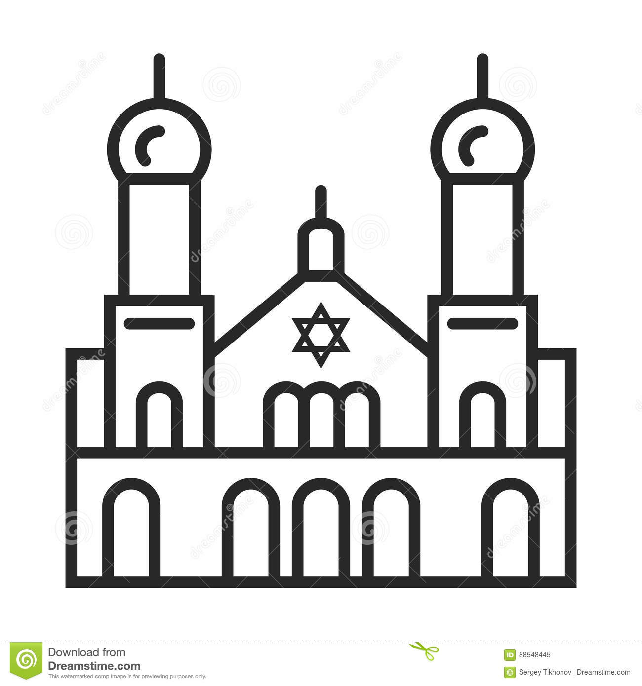Synagogue icon stock illustration. Illustration of church