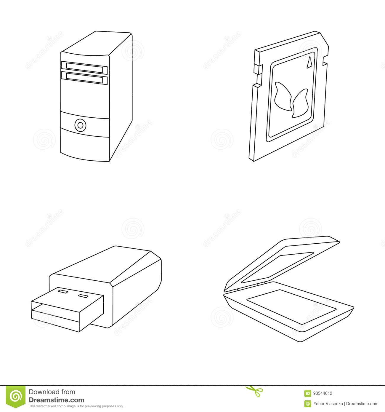 A System Unit, A Flash Drive, A Scanner And A SD Card