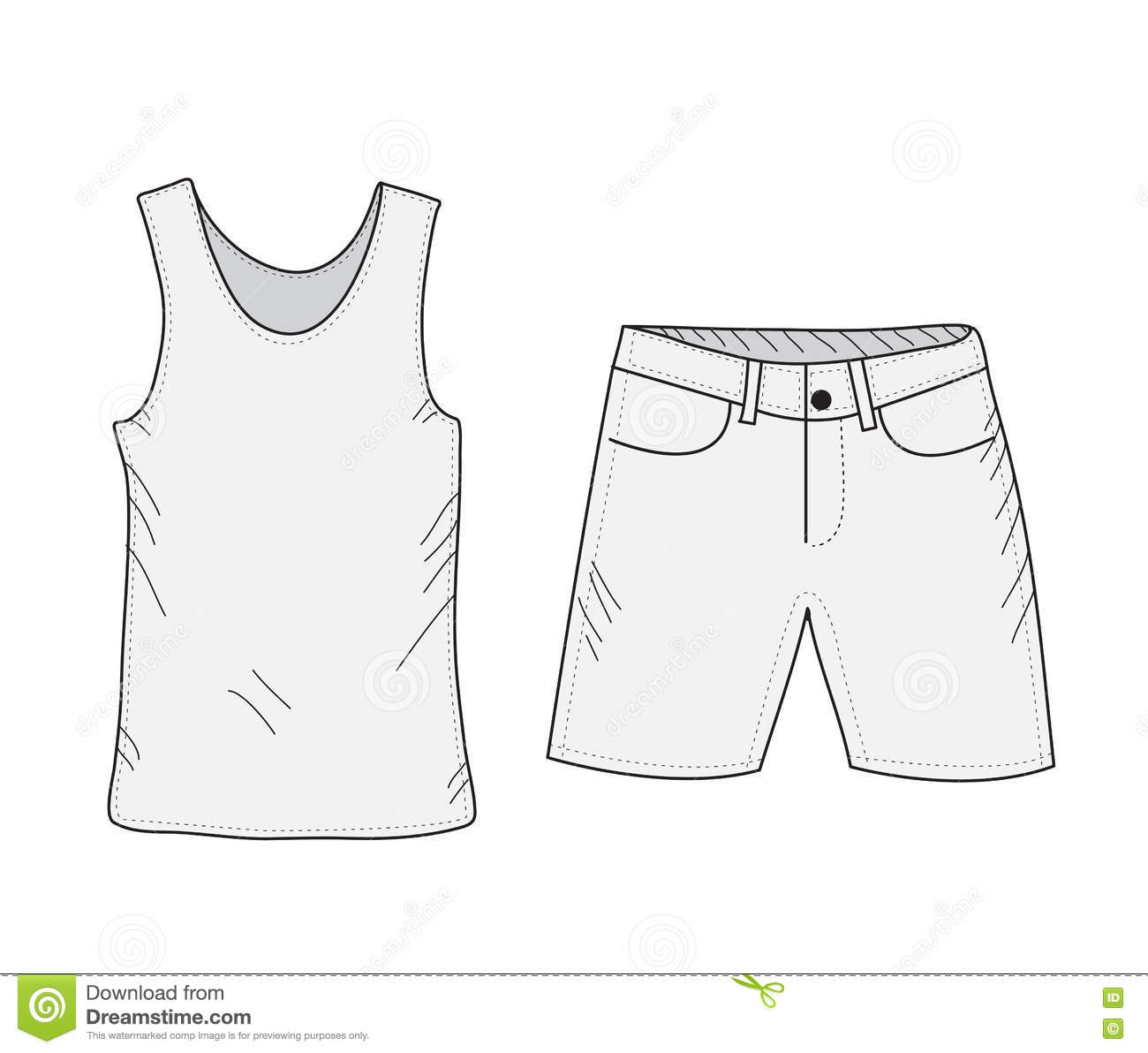 T Shirt And Shorts Sketch Set Things In The Style Of Hand