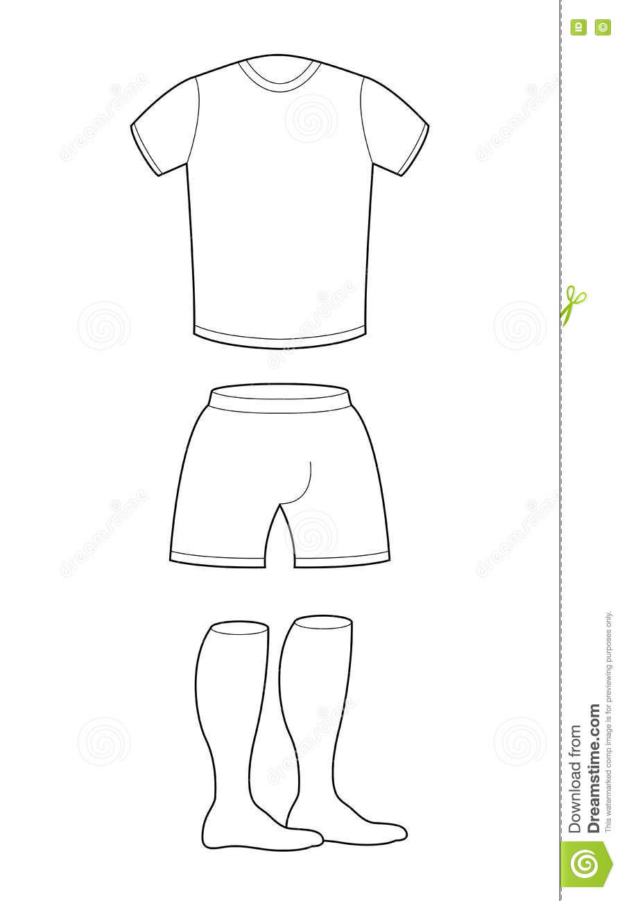 T-shirt, Shorts And Socks Template For Design. Sample For