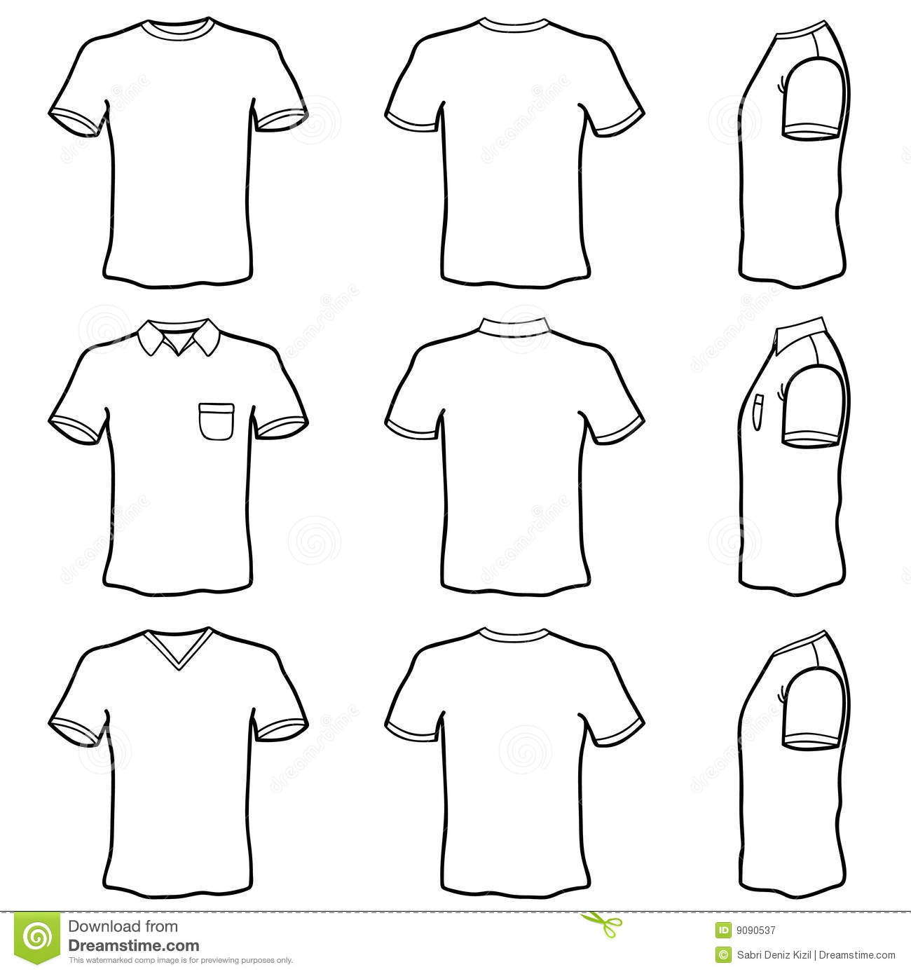 T Shirt Template Set Royalty Free Stock Photography