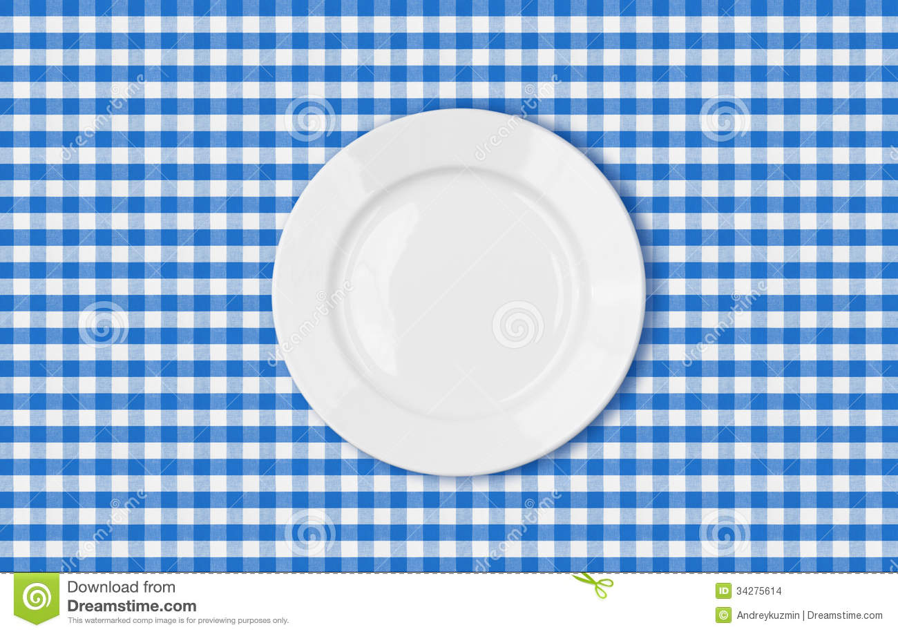 Table With Blue Picnic Cloth And Plate Top View Stock