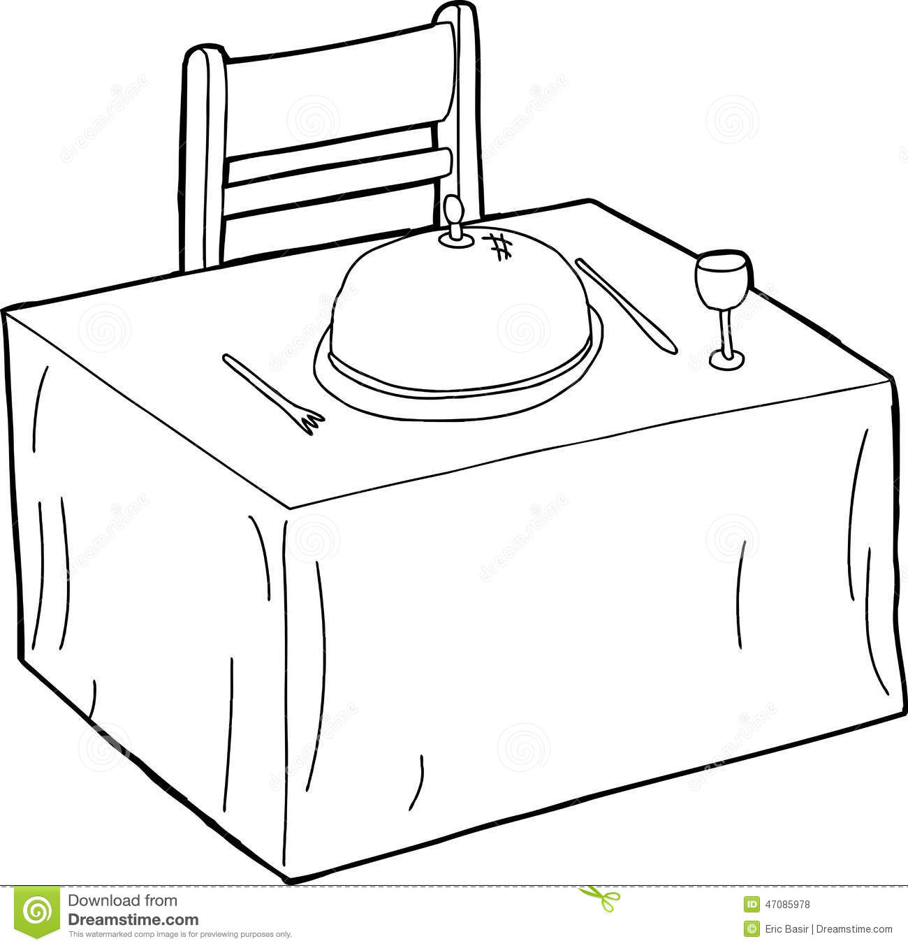 Table And Chair Outline Stock Vector