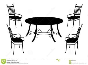 table silhouette chairs isolated vector illustration preview background