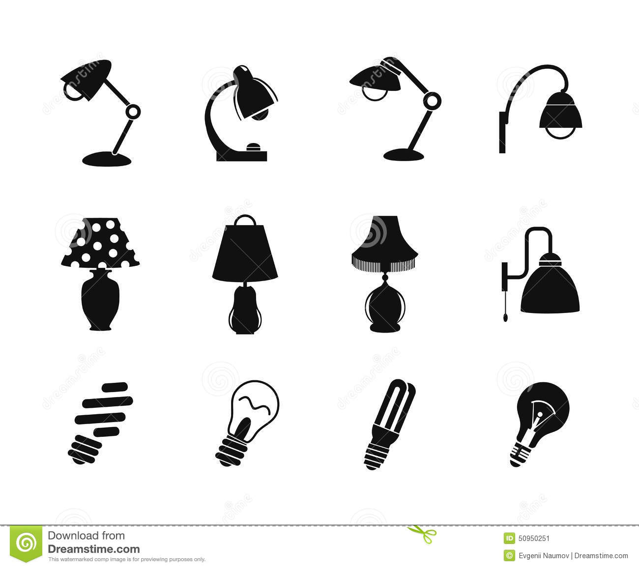 Table Lamp And Light Icon Stock Vector Illustration Of