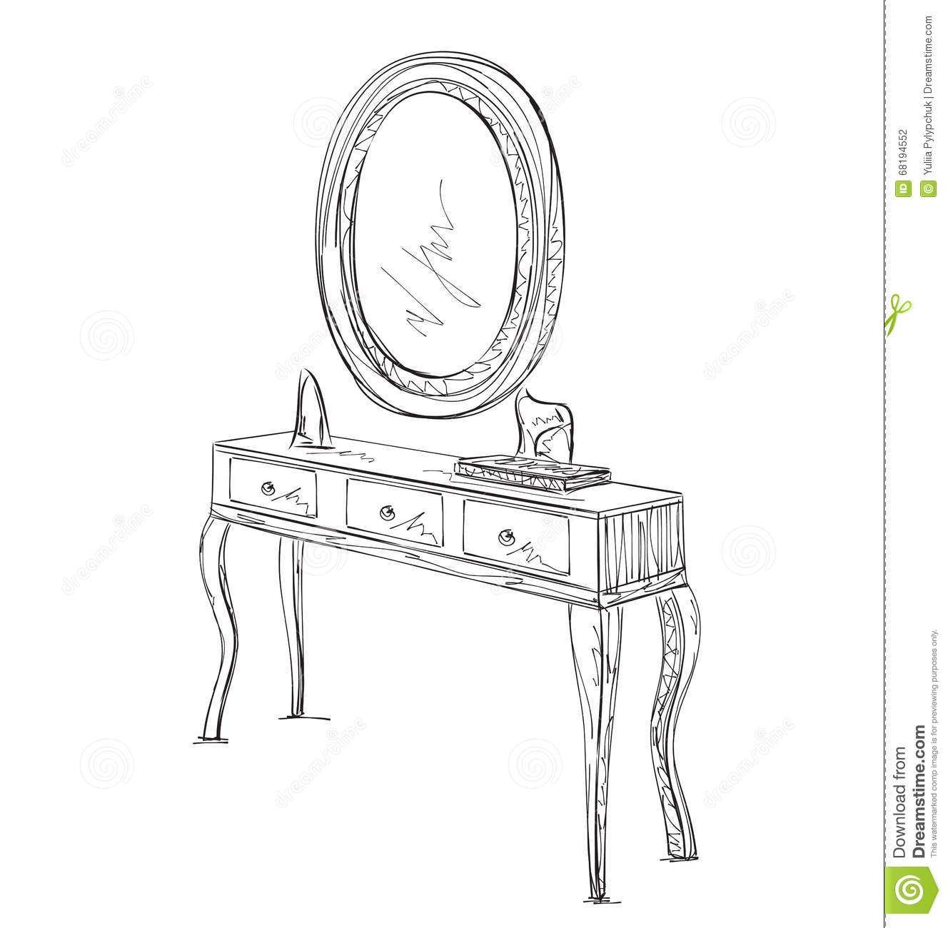 Table And Mirror Sketch Stock Vector