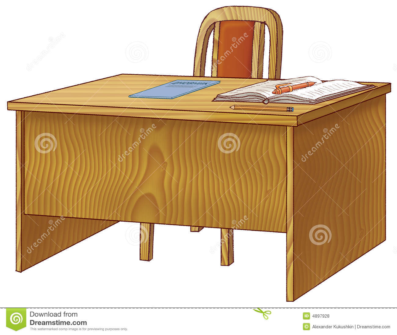 teacher table and chair patio chairs with footrests school teachers stock illustration of