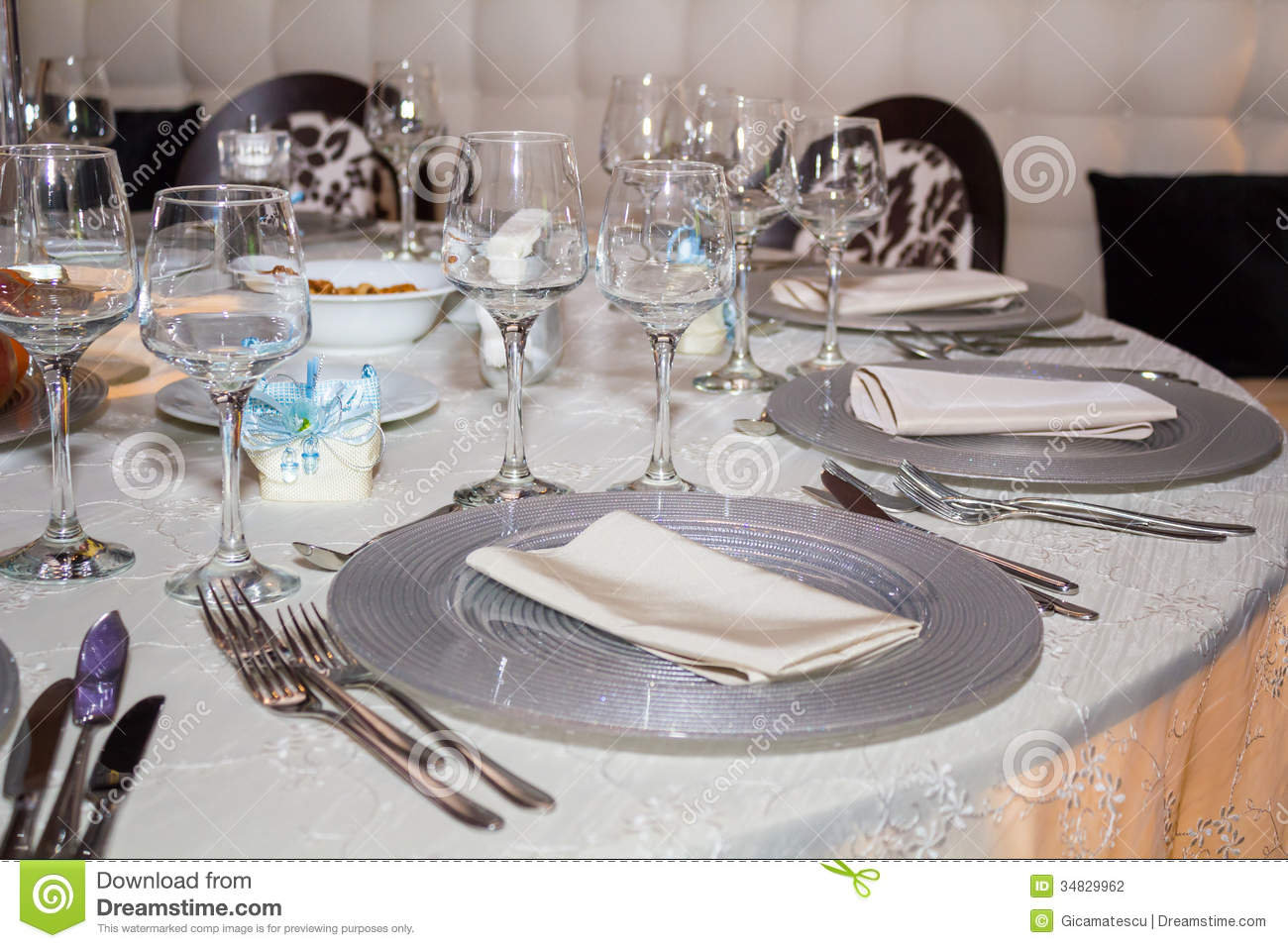 Table Set Up Stock Photo. Image Of Chair, Drink, Food