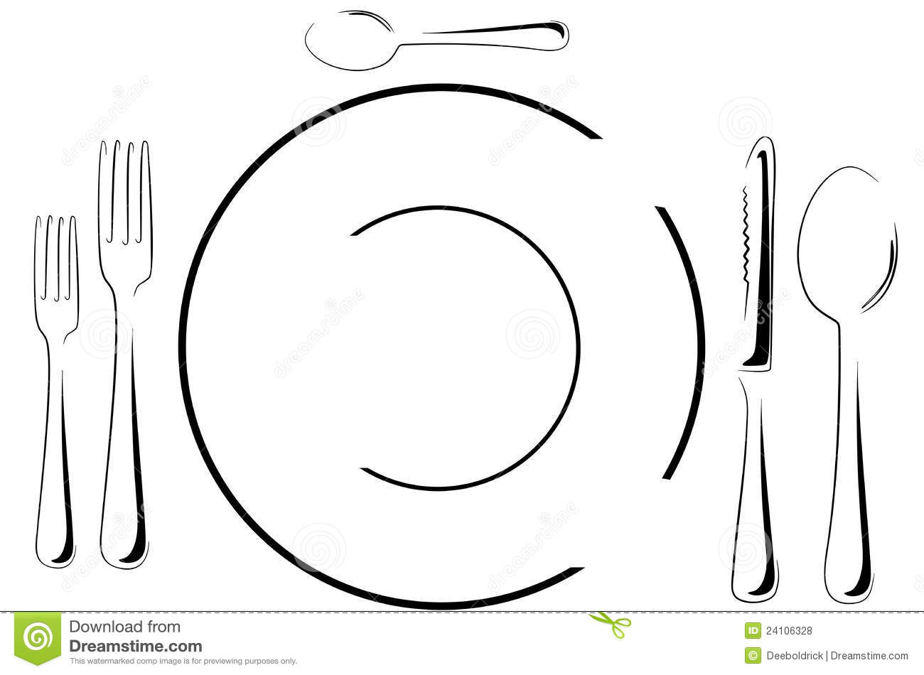 Table Setting In Line Art Stock Vector Illustration Of