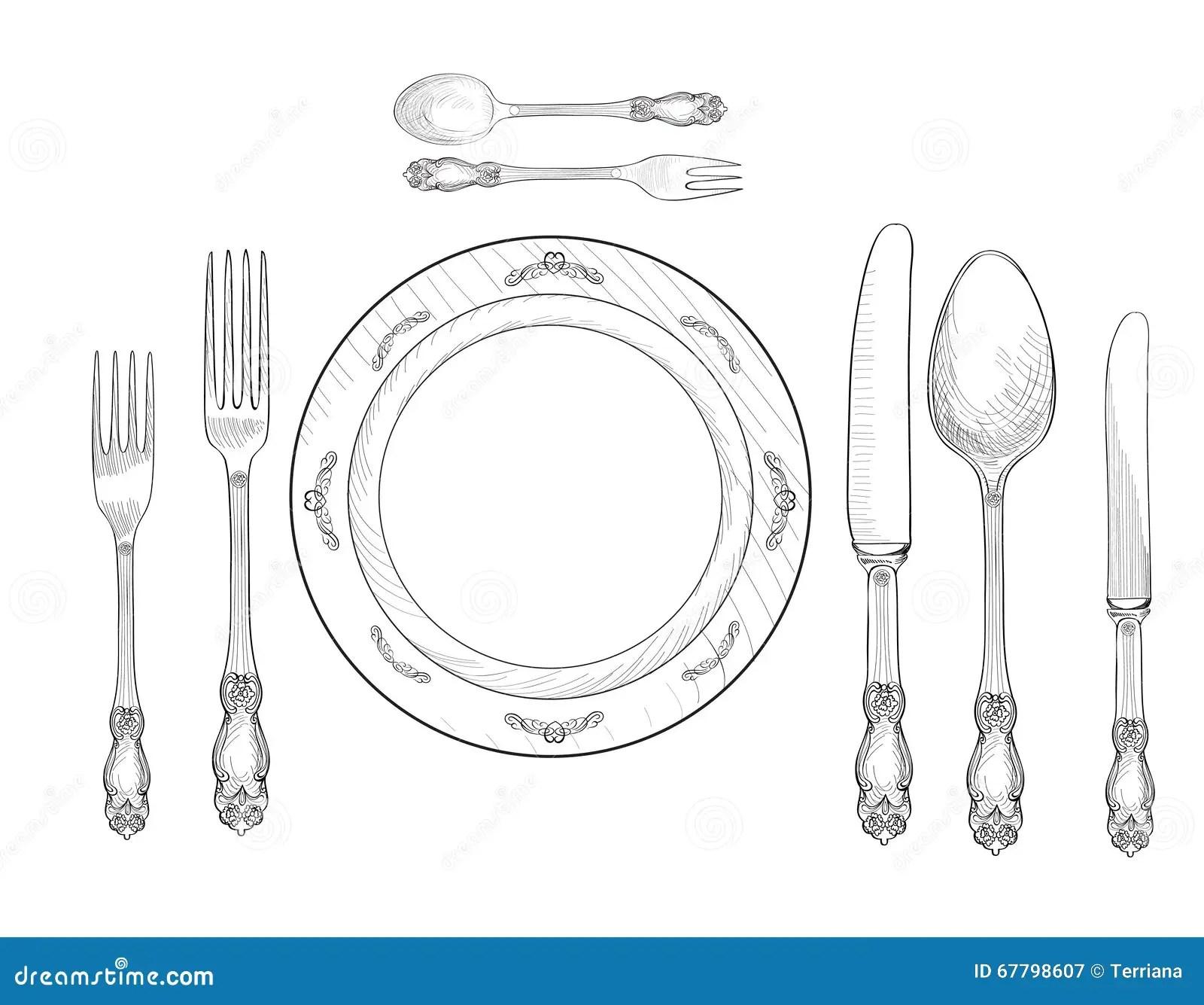 Table Setting Set Fork Knife Spoon Plate Sketch Set