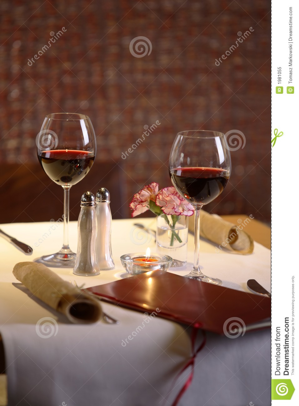 Table Setting For Two With Wine Royalty Free Stock Photo