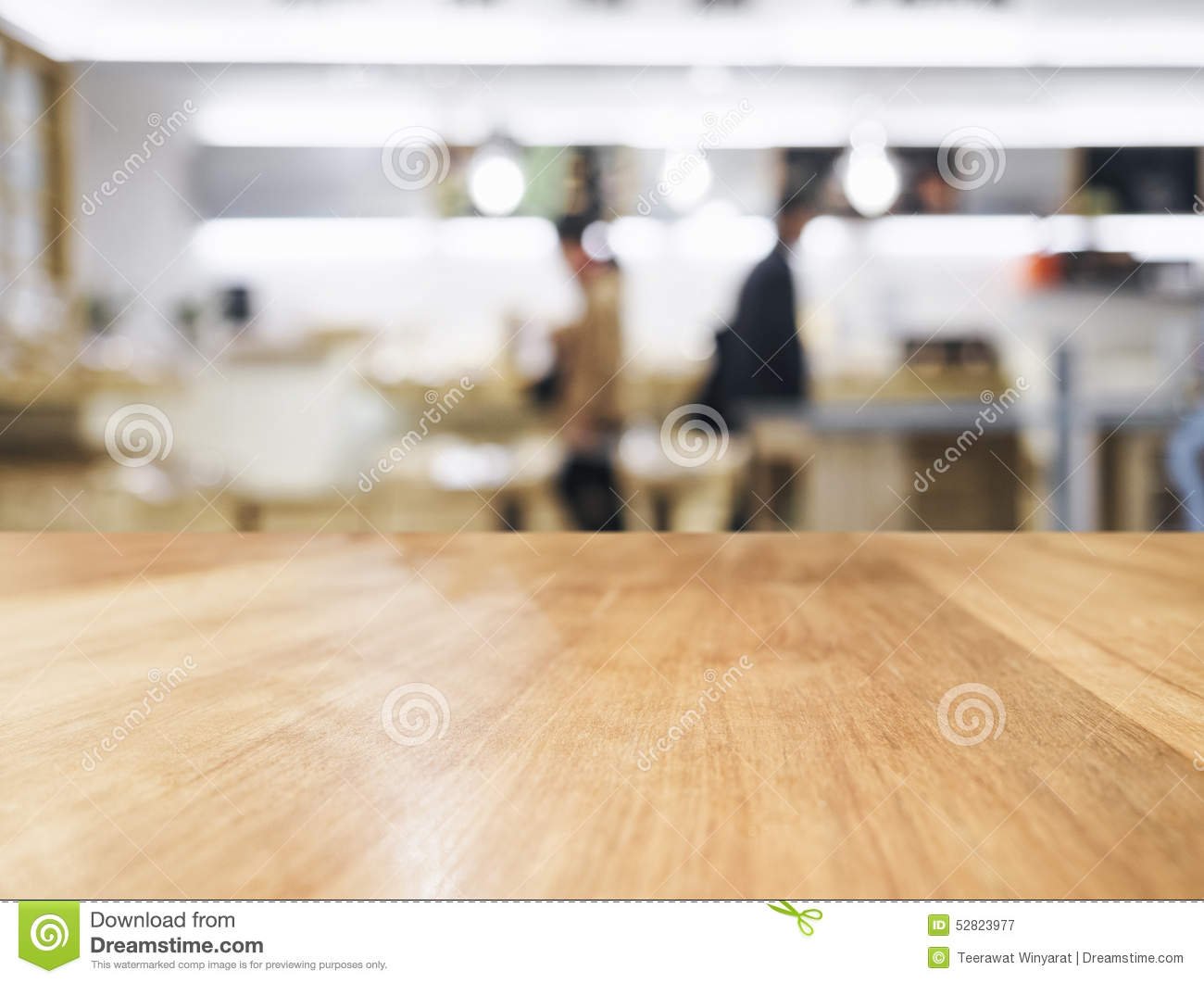 Table Top With Blurred People And Kitchen Background Stock Photo Image 52823977