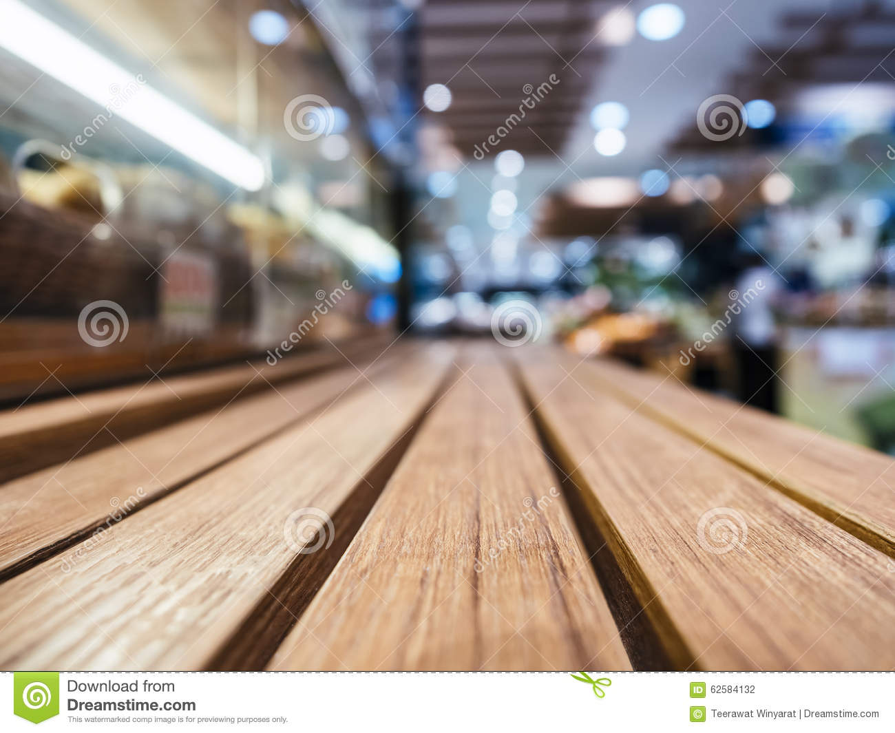 Table Top With Blurred Retail Shop Store Background Stock