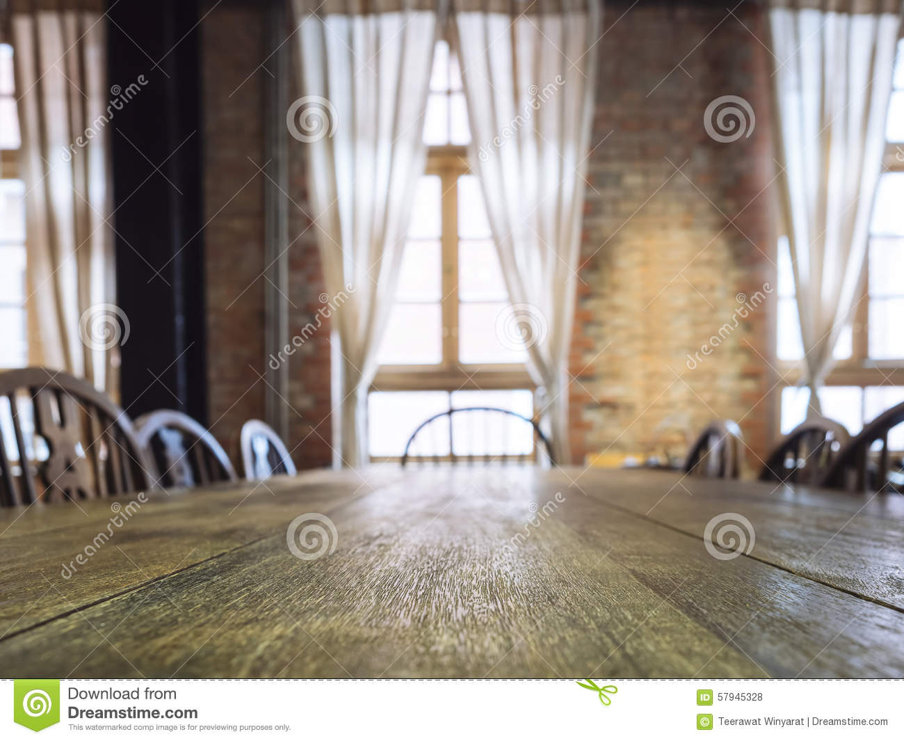 Table Top Counter In Dining Room Interior Background Stock