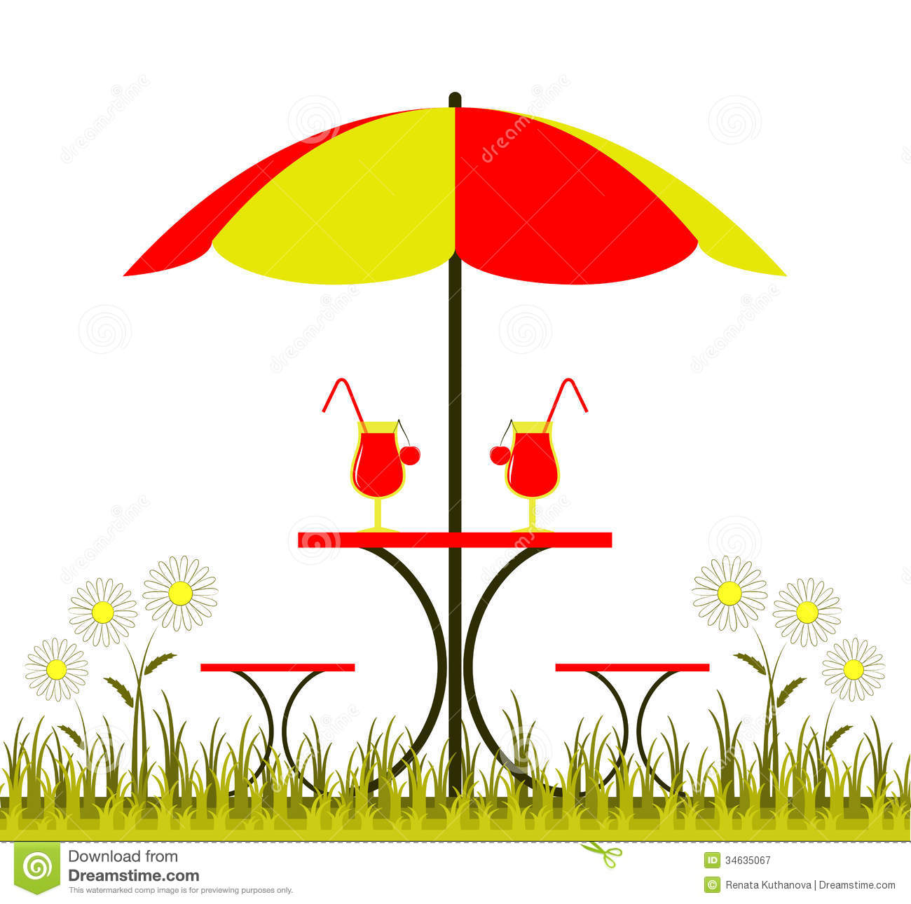 Table With Umbrella Stock Vector Illustration Of Bunch