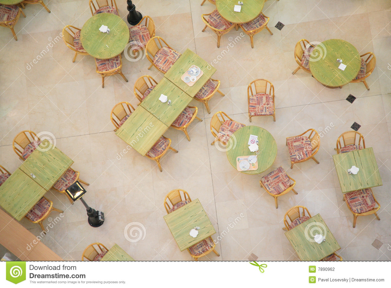 modern chairs for sitting room wedding chair covers exeter tables in cafe from top view stock photo - image: 7890962