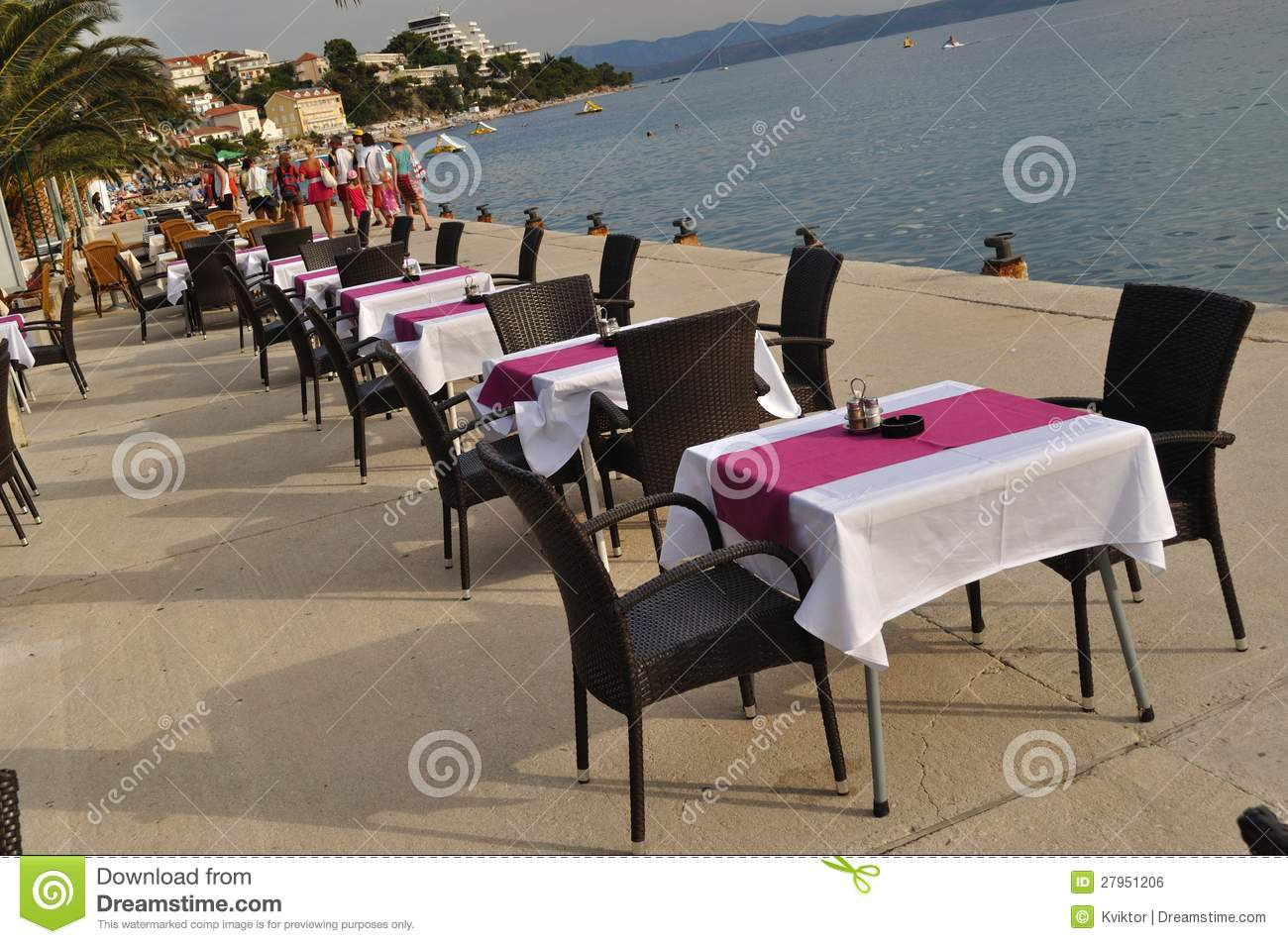 just in time tables chairs red leather chair and of restaurant podgora croatia stock