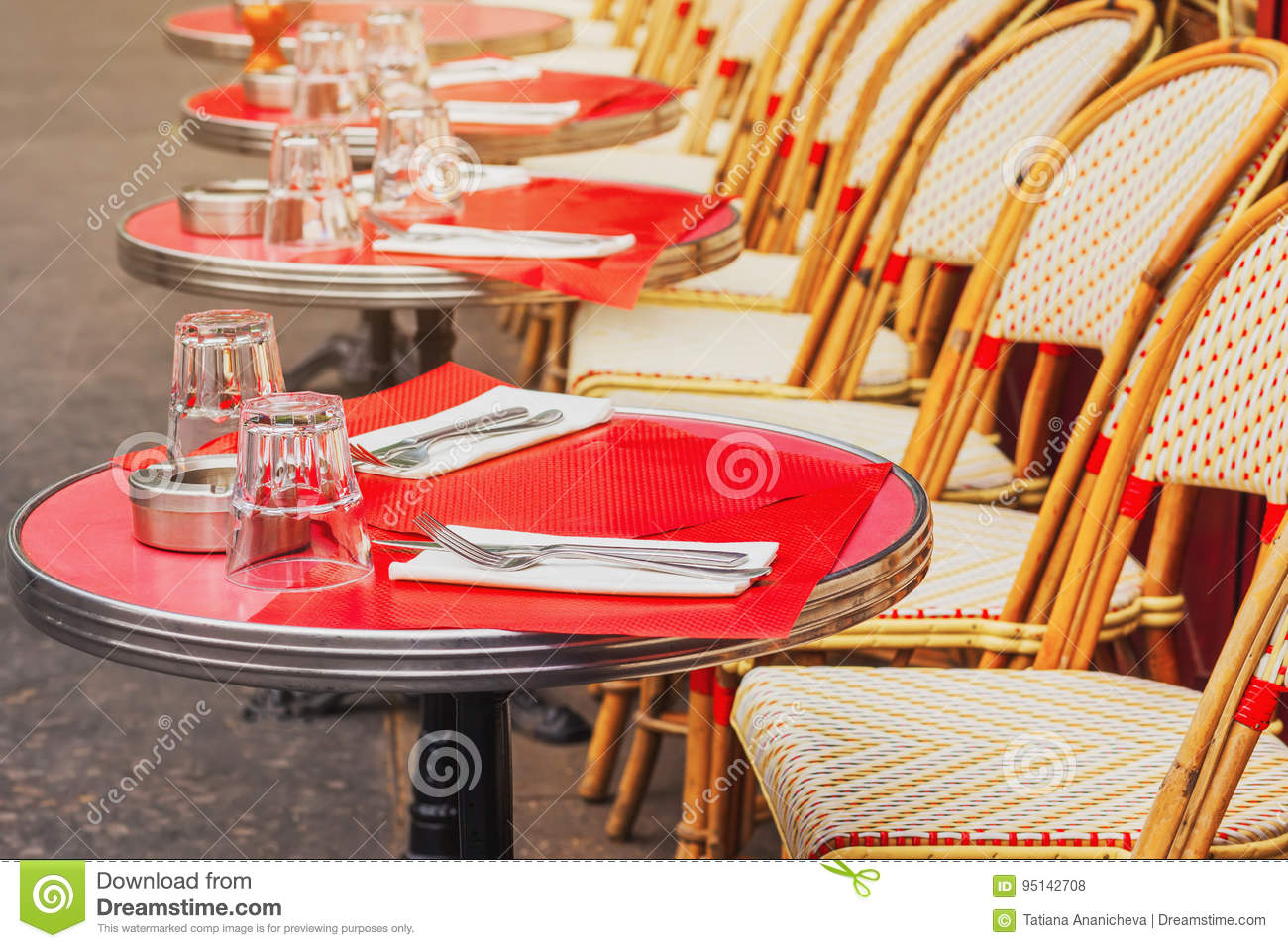 Outdoor French Bistro Chairs Tables Of Traditional Outdoor French Cafe In Paris Stock Photo