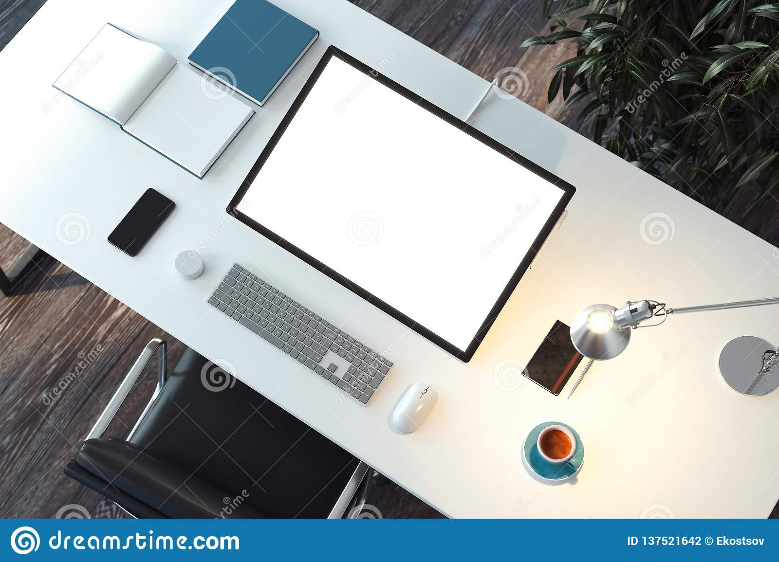 Tablet With Blank White Screen Mouse And Keyboard On Desk